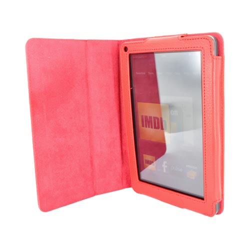 Premium Amazon Kindle Fire Leather Stand Case w/ Magnetic Closure - Red
