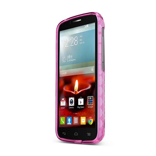 Hot Pink Alcatel One Touch Fierce 2 Flexible Crystal Silicone TPU Case - Conforms To Your Phone Without Stretching Out!