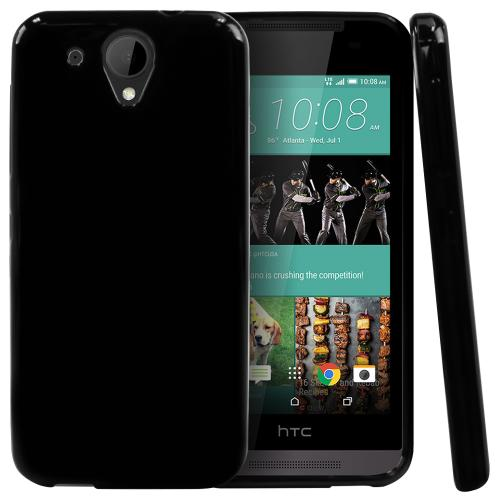 HTC Desire 520 Case, [Black] Slim & Flexible Crystal Silicone TPU Protective Case