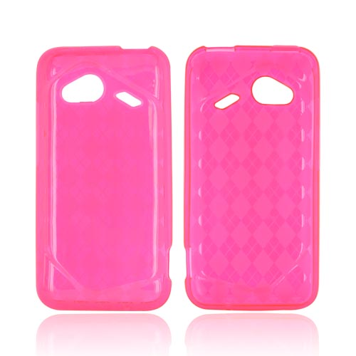 HTC Droid Incredible 4G Crystal Silicone Case - Argyle Hot Pink
