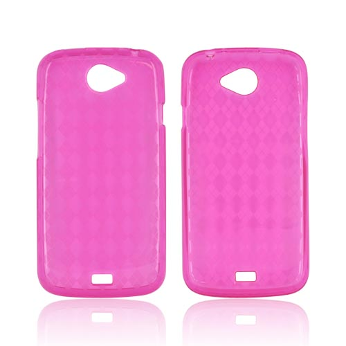 HTC One S Crystal Silicone Case - Argyle Hot Pink