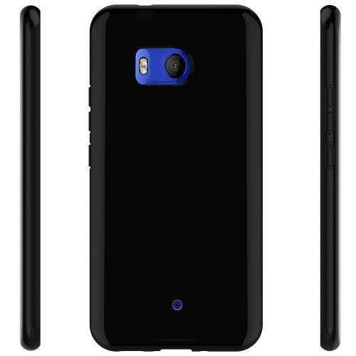 HTC U11 TPU Case, [REDshield] Slim & Flexible Anti-shock Crystal Silicone Protective TPU Gel Skin Case Cover [Black] with Travel Wallet Phone Stand