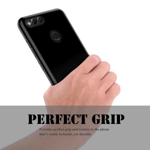 [Huawei Honor 7X] [REDSHIELD] TPU Case, Slim & Flexible Anti-shock Crystal Silicone Protective TPU Gel Skin Case [BLACK]