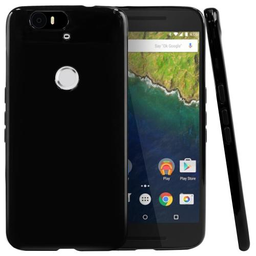 Huawei Google Nexus 6P Case, [Black] Slim & Flexible Anti-shock Crystal Silicone TPU Skin Protective Cover