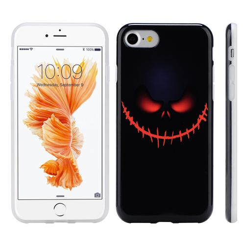 Made for Apple Phone 7 (4.7 inch) Case, Slim Flexible Anti-shock Crystal Silicone Protective TPU Gel Skin Case Cover [Black Pirate Face] with Travel Wallet Phone Stand by Redshield
