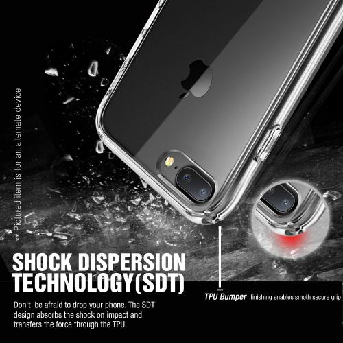 Made for Apple iPhone 8/7/6S/6 Plus Case, [Black] Slim Flexible Anti-shock Crystal Silicone Protective TPU Gel Skin Case Cover with Travel Wallet Phone Stand by Redshield