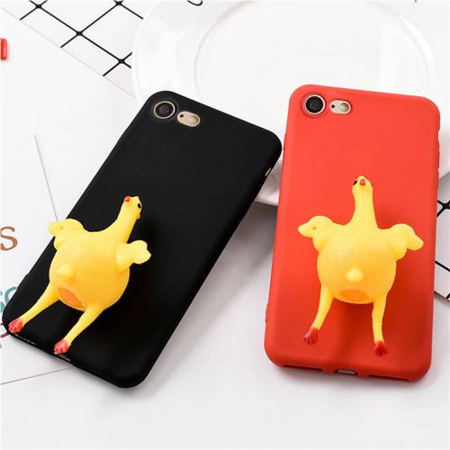 [REDshield] Apple iPhone 8 / 7 3D TPU Case, [Squishy Egg Laying Chicken on Black] Flexible Anti-shock Crystal Silicone Protective TPU Gel Skin Case Cover