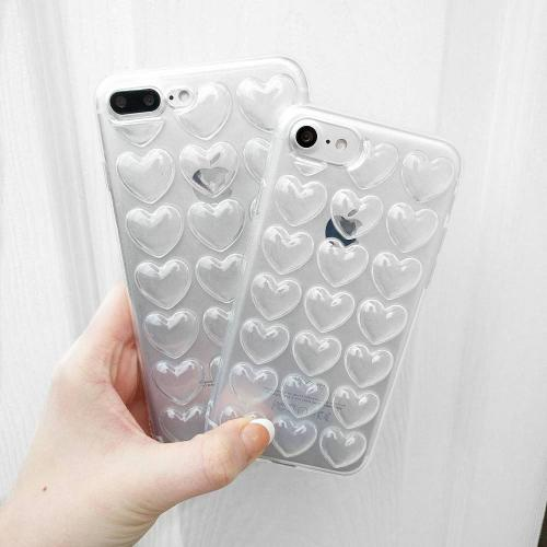 Made for Apple iPhone 8 / 7 3D TPU Case, [Clear Hearts] Slim Flexible Anti-shock Crystal Silicone Protective TPU Gel Skin Case Cover w/ Wrist Strap by Redshield
