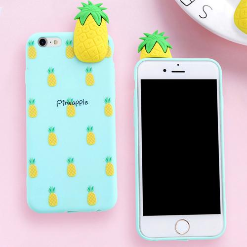 Made for Apple iPhone 8 / 7 / 6S / 6 3D TPU Case, [Pineapple on Mint] Slim Flexible Anti-shock Crystal Silicone Protective TPU Gel Skin Case Cover by Redshield