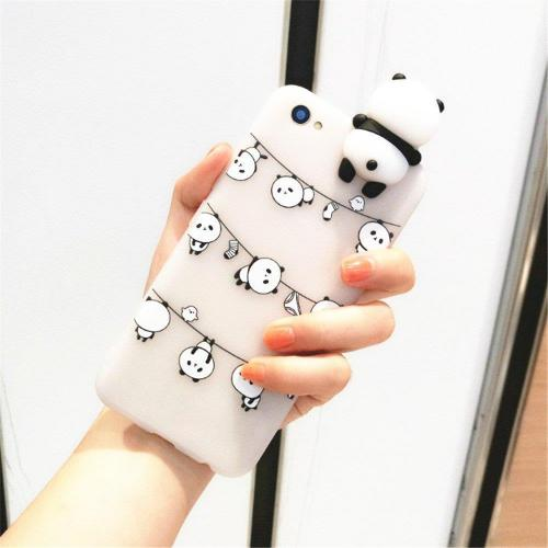 Made for Apple iPhone 8 / 7 3D TPU Case, [Panda Bears Hanging w/ Laundry] Slim Flexible Anti-shock Crystal Silicone Protective TPU Gel Skin Case Cover by Redshield