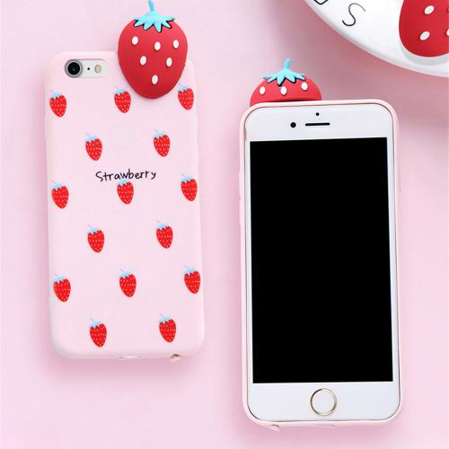 [REDshield] Apple iPhone 8 / 7 / 6S / 6 3D TPU Case, [Strawberry on Baby Pink] Slim & Flexible Anti-shock Crystal Silicone Protective TPU Gel Skin Case Cover