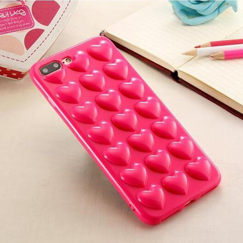 [REDshield] Apple iPhone 8 Plus / 7 Plus 3D TPU Case, [Hot Pink Hearts] Slim & Flexible Anti-shock Crystal Silicone Protective TPU Gel Skin Case Cover w/ Wrist Strap