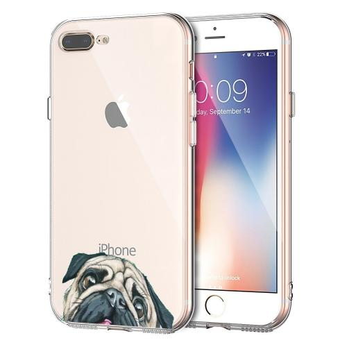 Made for Apple iPhone 8 Plus/ 7 Plus TPU Case, [Pug] Slim Flexible Anti-shock Crystal Silicone Protective TPU Gel Skin Case Cover by Redshield