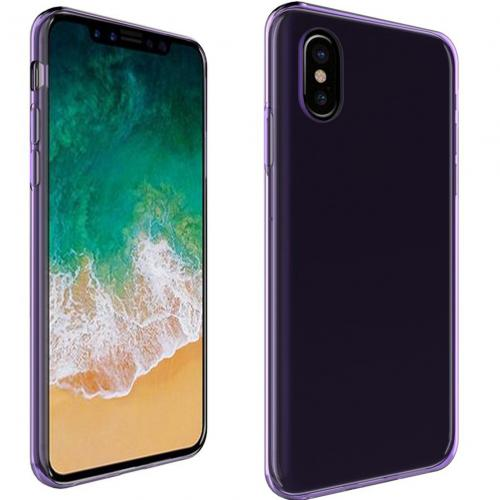 [REDshield] Apple iPhone X TPU Case, Slim & Flexible Anti-shock Crystal Silicone Protective TPU Gel Skin Case [Purple]