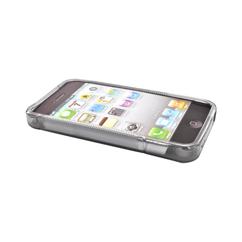 Apple Verizon/ AT&T iPhone 4, iPhone 4S Crystal Silicone Case 2 Tone Frosted - Transparent Smoke