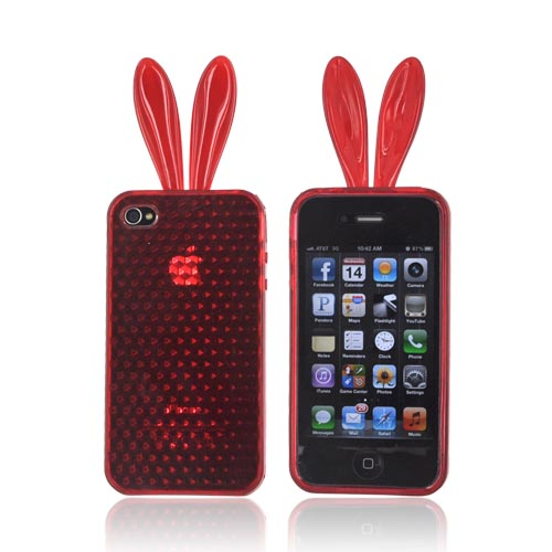 AT&T/ Verizon Apple iPhone 4, iPhone 4S Crystal Silicone Case w/ Bunny Ears - Red