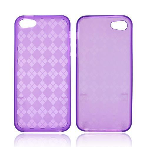 Apple iPhone SE / 5 / 5S  Case,  [Argyle Purple]  Slim & Flexible Anti-shock Crystal Silicone Protective TPU Gel Skin Case Cover