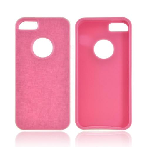 Apple iPhone SE / 5 / 5S  Case,  [Pink/ White]  Slim & Flexible Anti-shock Crystal Silicone Protective TPU Gel Skin Case Cover w/ Bumper