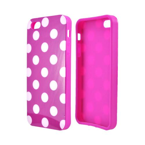 Apple iPhone SE / 5 / 5S  Case,  [White Polka Dots on Purple]  Slim & Flexible Anti-shock Crystal Silicone Protective TPU Gel Skin Case Cover