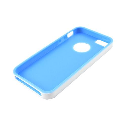 Apple iPhone SE / 5 / 5S  Case,  [Sky Blue/ White]  Slim & Flexible Anti-shock Crystal Silicone Protective TPU Gel Skin Case Cover w/ Bumper
