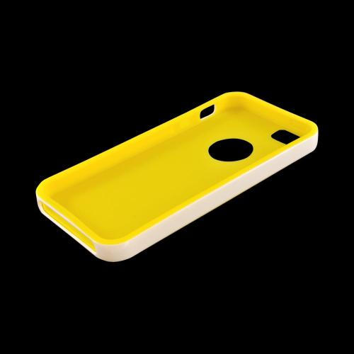 Apple iPhone SE / 5 / 5S  Case,  [Yellow/ White]  Slim & Flexible Anti-shock Crystal Silicone Protective TPU Gel Skin Case Cover w/ Bumper