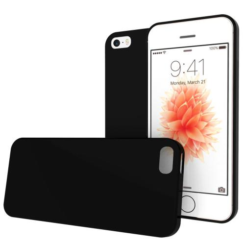 Made for Apple iPhone SE/5/5S Case, [Black]  Slim Flexible Anti-shock Crystal Silicone Protective TPU Gel Skin Case Cover w/ Free Screen Protector by Redshield