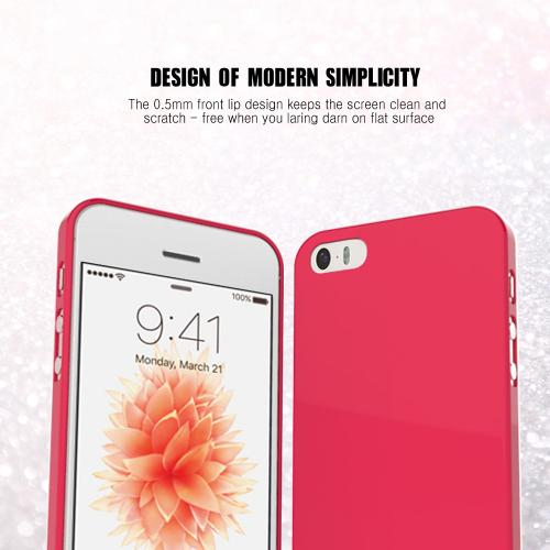 Apple iPhone SE/5/5S Case,  [Candy Apple Red]  Slim & Flexible Anti-shock Crystal Silicone Protective TPU Gel Skin Case Cover w/ Free Screen Protector