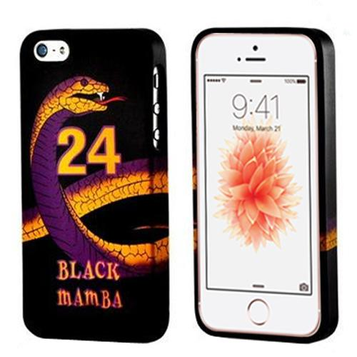 Made for Apple iPhone SE/5/5S Case, [Black Mamba Purple/ Gold Snake on Black]  Slim Flexible Anti-shock Crystal Silicone Protective TPU Gel Skin Bumper Case w/ Metal Buttons by Redshield