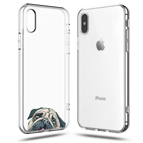 Made for [Apple iPhone X / XS 2018] TPU Case, [Pug] Slim Flexible Anti-shock Crystal Silicone Protective TPU Gel Skin Case Cover by Redshield