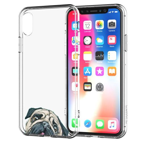 [REDshield] Apple iPhone X TPU Case, [Pug] Slim & Flexible Anti-shock Crystal Silicone Protective TPU Gel Skin Case Cover