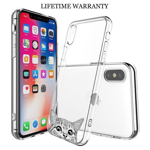 [REDshield] Apple iPhone X TPU Case, [Tabby Cat] Slim & Flexible Anti-shock Crystal Silicone Protective TPU Gel Skin Case Cover