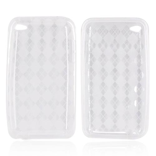 Luxmo Apple iPod Touch 4 Crystal Silicone Case - Diamonds on Clear/White