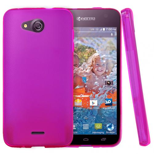 Kyocera Hydro Wave Case, [Hot Pink] Slim & Flexible Crystal Silicone TPU Protective Case