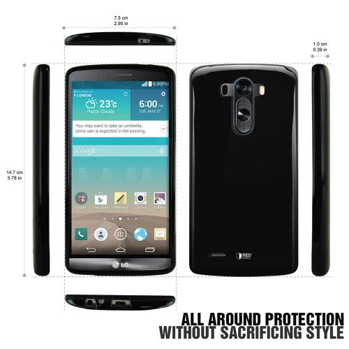 LG G3 Case, REDshield  [Black]  Slim & Flexible Anti-shock Crystal Silicone Protective TPU Gel Skin Case Cover w/ Free Screen Protector