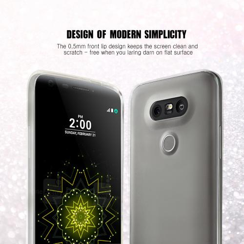 LG G5 Case, [Black] Slim & Flexible Anti-shock Crystal Silicone Protective TPU Gel Skin Case Cover with Travel Wallet Phone Stand