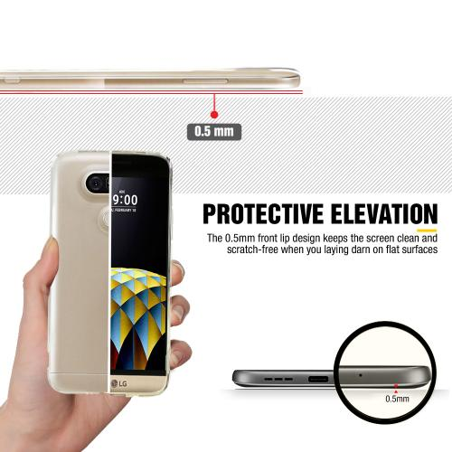 LG G5 Case, [Clear] Slim & Flexible Anti-shock Crystal Silicone Protective TPU Gel Skin Case Cover with Travel Wallet Phone Stand
