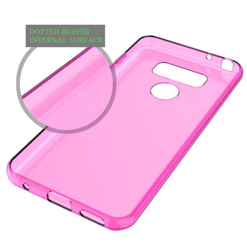 LG G6 TPU Case, Slim & Flexible Anti-shock Crystal Silicone Protective TPU Gel Skin Case Cover [Hot Pink] with Travel Wallet Phone Stand