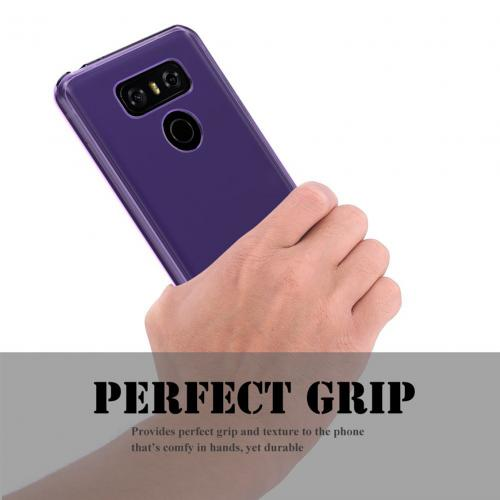 LG G6 TPU Case, Slim & Flexible Anti-shock Crystal Silicone Protective TPU Gel Skin Case Cover [Purple] with Travel Wallet Phone Stand