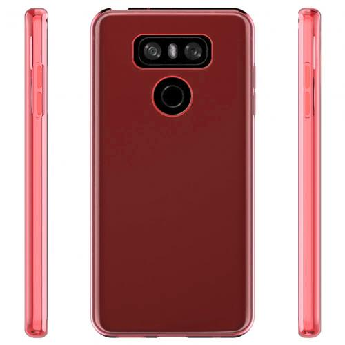 LG G6 TPU Case, Slim & Flexible Anti-shock Crystal Silicone Protective TPU Gel Skin Case Cover [Red] with Travel Wallet Phone Stand