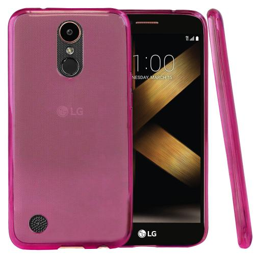 LG K20 Plus/ LG K20 V Case, Slim & Flexible Anti-shock Crystal Silicone Protective TPU Gel Skin Case Cover [Hot Pink] with Travel Wallet Phone Stand