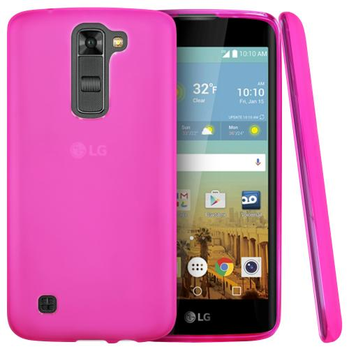 LG K7/ LG Tribute 5 Case,  [Hot Pink]  Slim & Flexible Anti-shock Crystal Silicone Protective TPU Gel Skin Case Cover