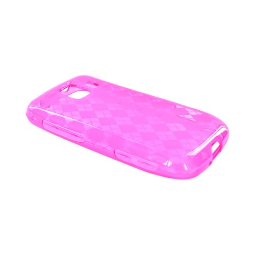LG Optimus S LS670 Crystal Silicone Case - Hot Pink Argyle
