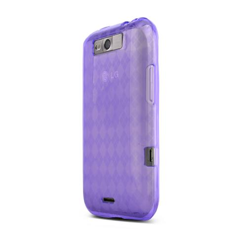 LG Viper 4G LTE/ LG Connect 4G Crystal Silicone Case - Argyle Purple