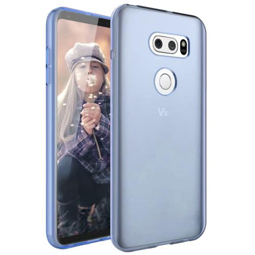 LG V30 TPU Case, [Blue] Slim & Flexible Anti-shock Crystal Silicone Protective TPU Gel Skin Case