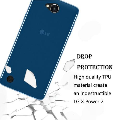 LG X Power 2/ X Charge Case, [REDshield] Slim & Flexible Anti-shock Crystal Silicone Protective TPU Gel Skin Case Cover [Blue] with Travel Wallet Phone Stand