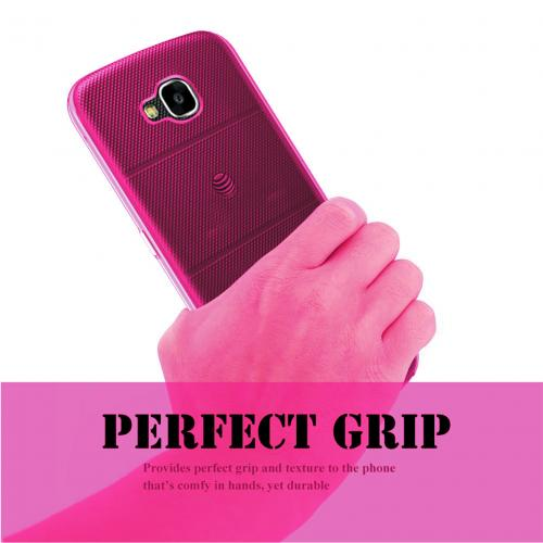 LG X Venture TPU Case, [REDshield] Slim & Flexible Anti-shock Crystal Silicone Protective TPU Gel Skin Case Cover [Hot Pink]  with Travel Wallet Phone Stand
