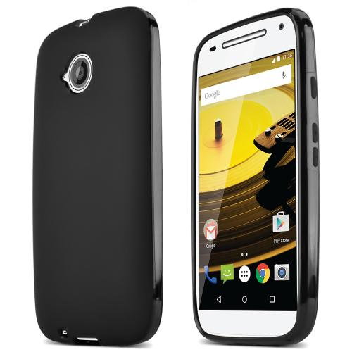 Black Motorola Moto E (2nd Gen.) Flexible Crystal Silicone TPU Case - Conforms To Your Phone Without Stretching Out!