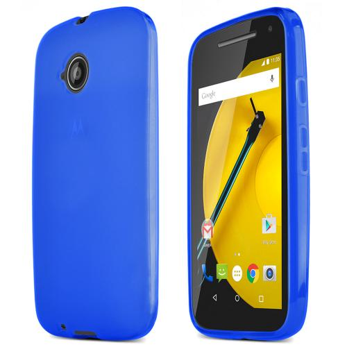 Blue Motorola Moto E (2nd Gen.) Flexible Crystal Silicone TPU Case - Conforms To Your Phone Without Stretching Out!