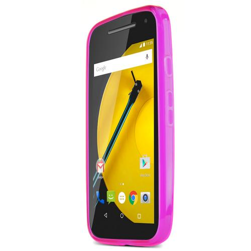 Hot Pink Motorola Moto E (2nd Gen.) Flexible Crystal Silicone TPU Case - Conforms To Your Phone Without Stretching Out!