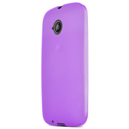 Purple Motorola Moto E (2nd Gen.) Flexible Crystal Silicone TPU Case - Conforms To Your Phone Without Stretching Out!